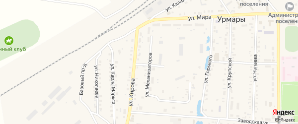 Улица Механизаторов на карте поселка Урмары с номерами домов