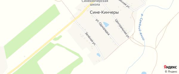 Зеленая улица на карте деревни Сине-Кинчеры с номерами домов