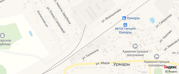 Вокзальная улица на карте поселка Урмары с номерами домов