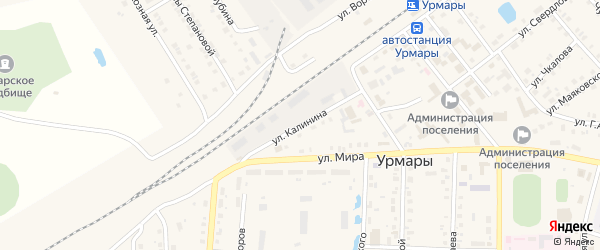Улица Калинина на карте поселка Урмары с номерами домов
