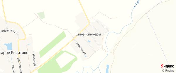 Карта деревни Сине-Кинчеры в Чувашии с улицами и номерами домов