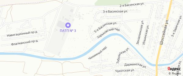 Харьковский 4-й переулок на карте Астрахани с номерами домов