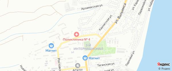 Каунасская улица на карте Астрахани с номерами домов