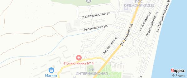 Белорецкая улица на карте Астрахани с номерами домов