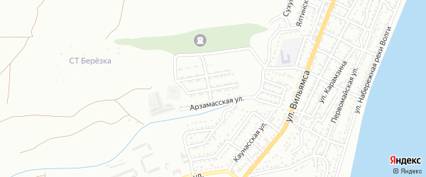 Арзамасская 1-я улица на карте Астрахани с номерами домов