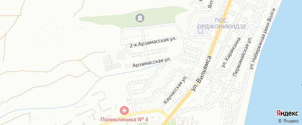 Арзамасская улица на карте Астрахани с номерами домов