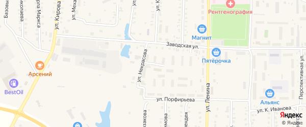 Переулок Некрасова на карте поселка Урмары с номерами домов