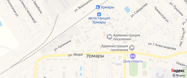 Базарный переулок на карте поселка Урмары с номерами домов