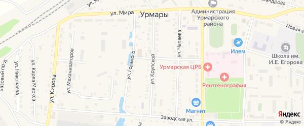 Улица Крупской на карте поселка Урмары с номерами домов