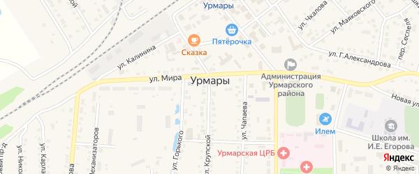 Больничный переулок на карте поселка Урмары с номерами домов