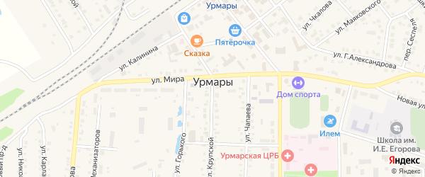 Улица Кирова на карте поселка Урмары с номерами домов