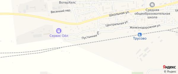 Пустынная улица на карте поселка Трусово с номерами домов