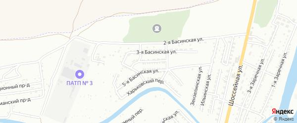 Басинская 4-я улица на карте Астрахани с номерами домов