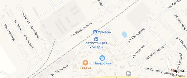 Октябрьская улица на карте поселка Урмары с номерами домов
