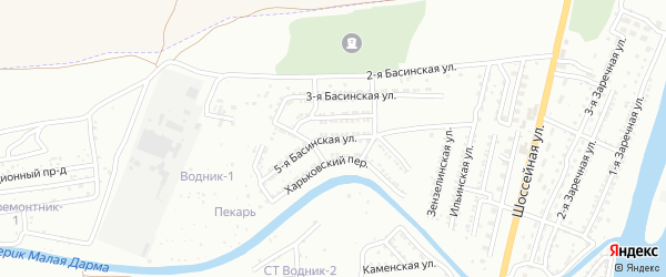 Басинская 5-я улица на карте Астрахани с номерами домов