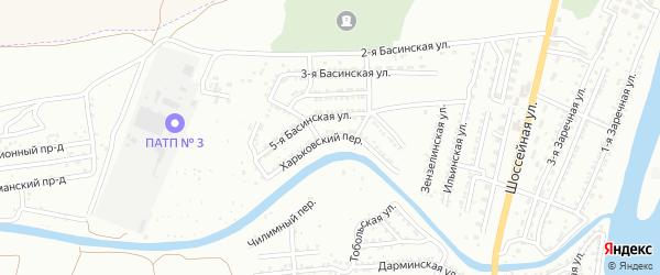 Харьковский переулок на карте Астрахани с номерами домов