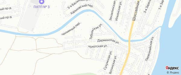 Тобольская улица на карте Астрахани с номерами домов