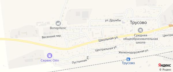 Тенистая улица на карте поселка Трусово с номерами домов