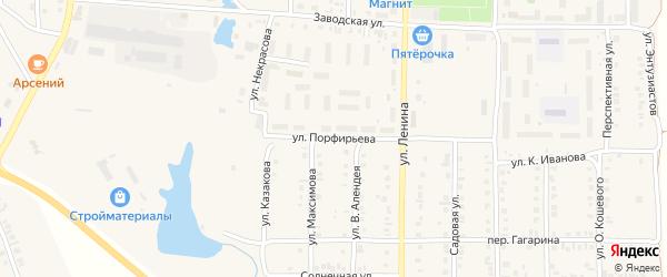 Улица Порфирьева на карте поселка Урмары с номерами домов