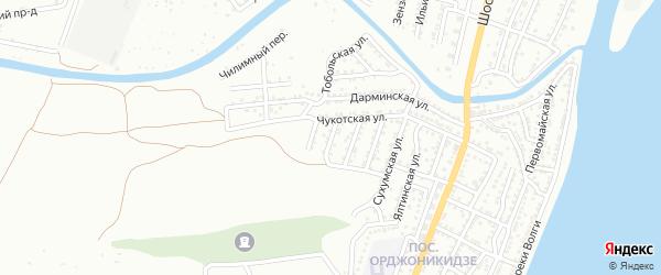Хоперский переулок на карте Астрахани с номерами домов