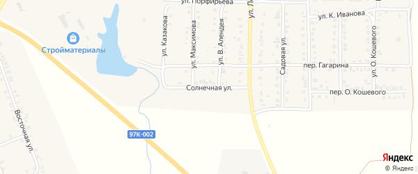 Солнечная улица на карте поселка Урмары с номерами домов