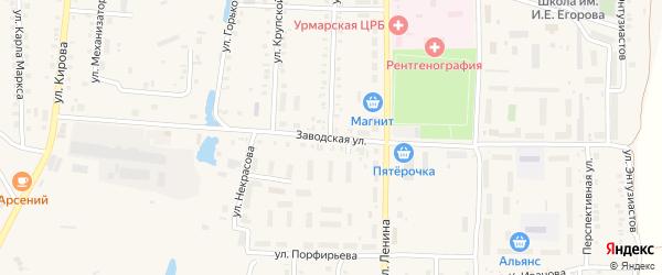 Заводская улица на карте поселка Урмары с номерами домов