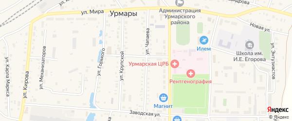 Улица Чапаева на карте поселка Урмары с номерами домов