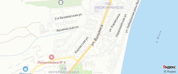 Туруханский переулок на карте Астрахани с номерами домов