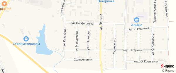 Улица В.Алендея на карте поселка Урмары с номерами домов