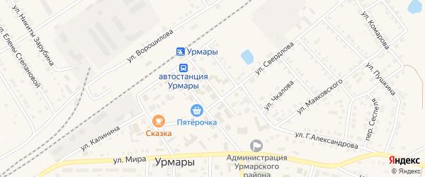 Советская улица на карте поселка Урмары с номерами домов