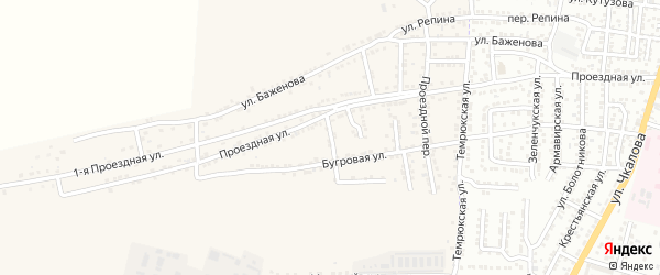 Конечный переулок на карте Астрахани с номерами домов