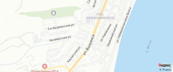 Восточный переулок на карте Астрахани с номерами домов