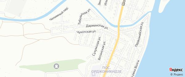 Тобольский переулок на карте Астрахани с номерами домов