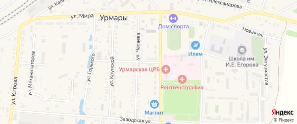 Переулок Чапаева на карте поселка Урмары с номерами домов