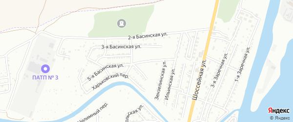 Басинская 6-я улица на карте Астрахани с номерами домов