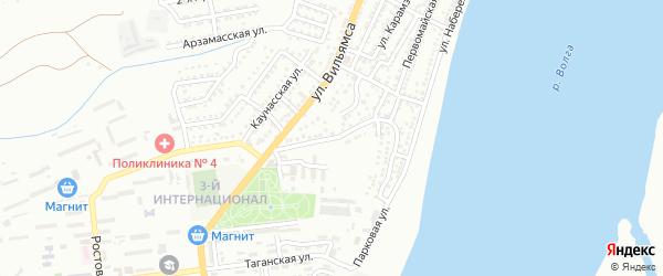 Интернациональная улица на карте Астрахани с номерами домов