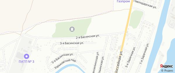 Басинская 2-я улица на карте Астрахани с номерами домов
