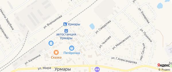Переулок Свердлова на карте поселка Урмары с номерами домов