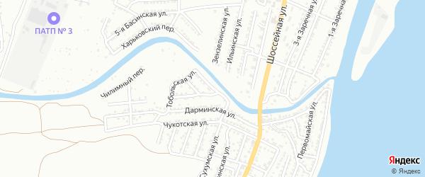 Донской переулок на карте Астрахани с номерами домов