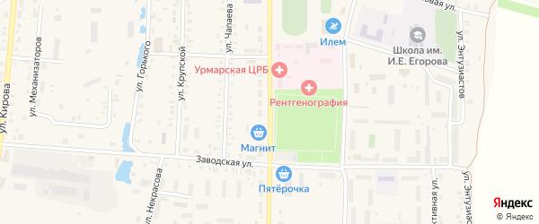 Улица Ленина на карте поселка Урмары с номерами домов