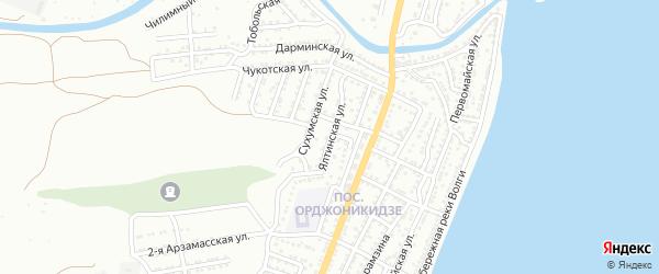 Ялинская улица на карте Астрахани с номерами домов