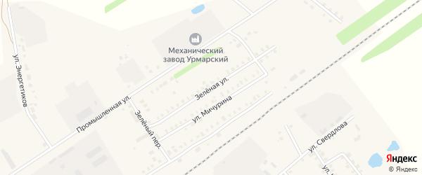 Зеленая улица на карте поселка Урмары с номерами домов