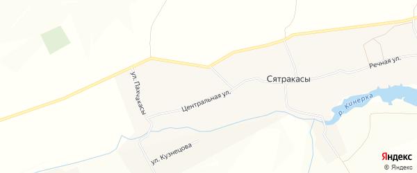 Карта деревни Сятракасы в Чувашии с улицами и номерами домов