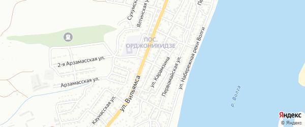 Печерский переулок на карте Астрахани с номерами домов