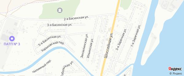 Ильинская улица на карте Астрахани с номерами домов