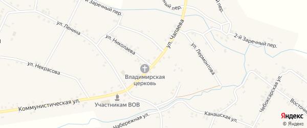 Улица Чапаева на карте села Шимкусы с номерами домов