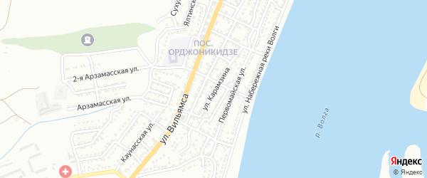 Улица Карамзина на карте Астрахани с номерами домов