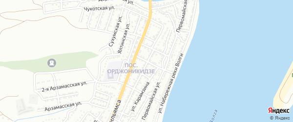 Средний переулок на карте Астрахани с номерами домов