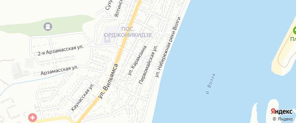 Центральный переулок на карте Астрахани с номерами домов