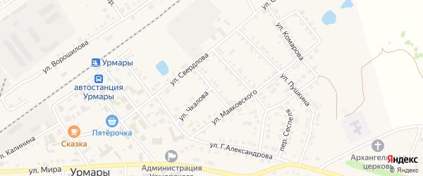 Комсомольская улица на карте поселка Урмары с номерами домов